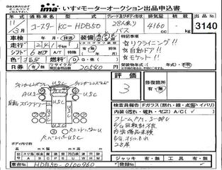 inspection sheet for car HDB50 - 1999 Toyota Coaster マイクロバス - custom